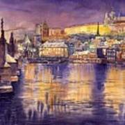 Charles Bridge And Prague Castle With The Vltava River Art Print