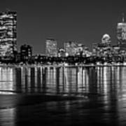 Charles River Boston Ma Prudential Lit Up Not Done New England Patriots Black And White Art Print