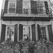 Charleston Style Home Black And White Art Print