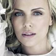 Charlize Theron Blue Eyed Blonde Blouse Celebrity Hollywood 31116 640x960 Art Print