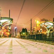 Charlotte City Skyline Night Scene With Light Rail System Lynx T Art Print