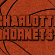Charlotte Hornets Leather Art Art Print