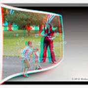 Chasing Bubbles - Use Red-cyan 3d Glasses Art Print