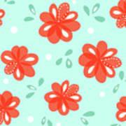 Cheerful Red Flowers Art Print