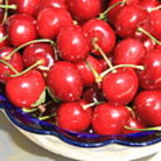 Cherries In A Bowl Close-up Art Print