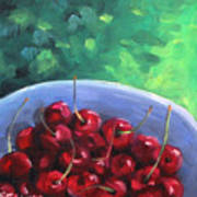 Cherries On A Blue Plate Art Print