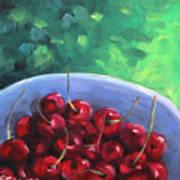 Cherries On A Blue Plate Art Print