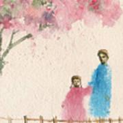 Cherry Blossom Tree Over The Bridge Art Print