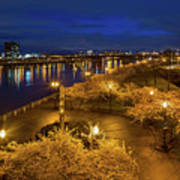 Cherry Blossom Trees At Portland Waterfront Park During Blue Hou Art Print