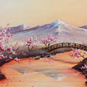 Cherry Blossoms In The Mist - Revisited Art Print
