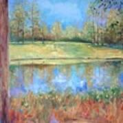 Cherry Moon Pond Art Print