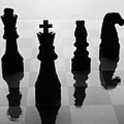 Chess Board And Pieces Print by Jon Schulte
