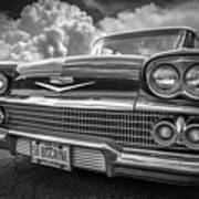 Chevrolet Biscayne 1958 In Black And White Art Print
