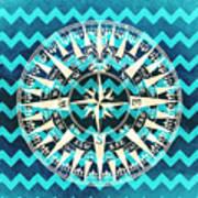 Chevron Print Compass Blue Art Print