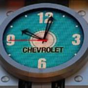 Chevy Neon Clock Art Print