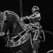 Chicago Art Institute Armored Knight And Horse Bw Pa 02 Art Print