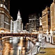 Chicago At Night At Wabash Avenue Bridge Art Print