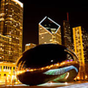Chicago Bean Cloud Gate At Night Art Print by Paul Velgos