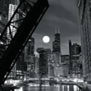 Chicago Black And White Nights Art Print
