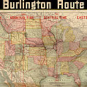 Chicago, Burlington Route System Map, 1892. Art Print