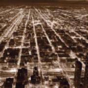 Chicago City Lights West B W Art Print