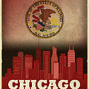 Chicago City Skyline State Flag Of Illinois Art Poster Series 012 Art Print