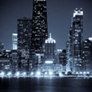 Chicago Cityscape At Night Art Print