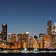 Chicago Downtown Skyline At Night Art Print