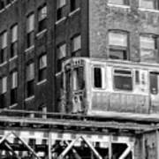 Chicago El And Warehouse Black And White Art Print