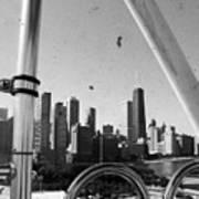Chicago Ferris Wheel Skyline Art Print