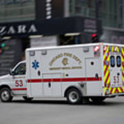 Chicago Fire Department Ems Ambulance 53 Art Print