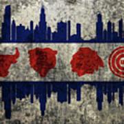 Chicago Grunge Flag Art Print