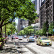 Chicago Hailing A Cab In June Art Print