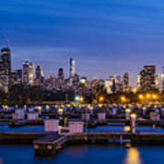 Chicago Harbor View At Night Art Print