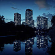 Chicago High-rise Buildings By The Lincoln Park Pond At Night Art Print