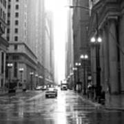 Chicago In The Rain B-w Art Print