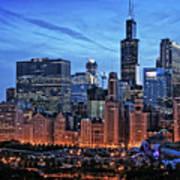 Chicago At Night Art Print