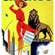 Chicago, Lion, Shopping Woman Art Print