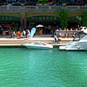 Chicago Parked On The River Walk Panorama 01 Art Print