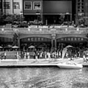 Chicago Parked On The River Walk Panorama 02 Bw Art Print