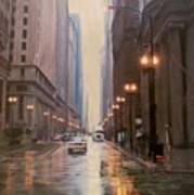 Chicago Rainy Street Art Print