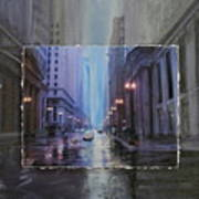 Chicago Rainy Street Expanded Art Print