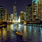Chicago River At Night Art Print