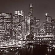 Chicago River Panorama B W Art Print