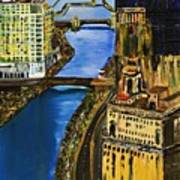 Chicago River Skyline Art Print