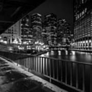 Chicago River View In Black And White  Art Print