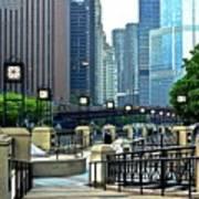 Chicago River Walk Invites You Art Print