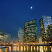 Chicago River With Skyline And Moon Art Print