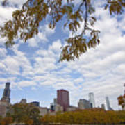 Chicago Skyline And Fall Colors Art Print
