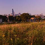 Chicago Skyline And Neighborhood Prairie Art Print